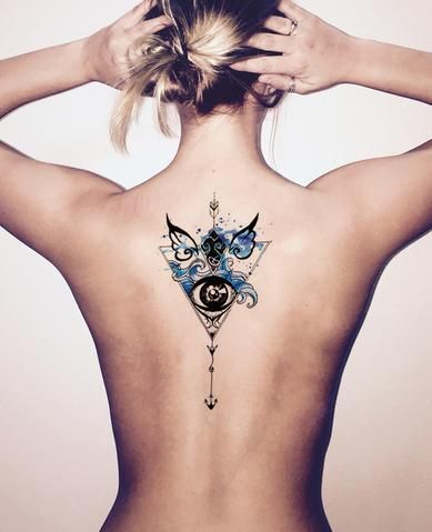 70ca9db01f834 Watercolor Arrow Back Tattoo Ideas for Women - Black Henna Tribal Blue  Angel Wings Evil Eye