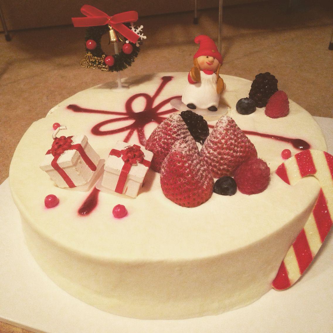 Fresh cream with strawberry christmas cake from paris