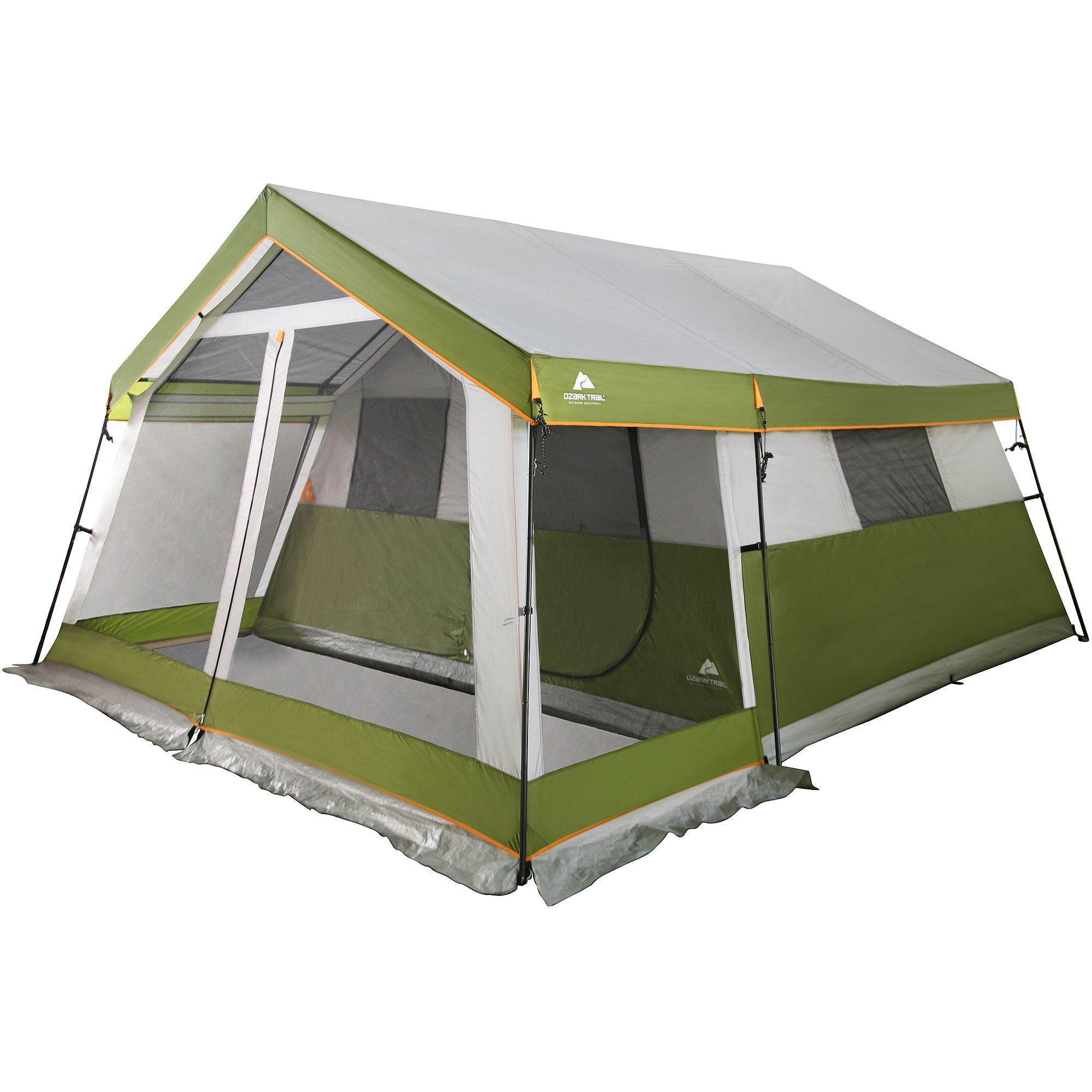 Ozark Trail 12 Person Cabin Tent With Screen Porch Walmartcom Frame Tenda Fiber Untuk Dome Camping