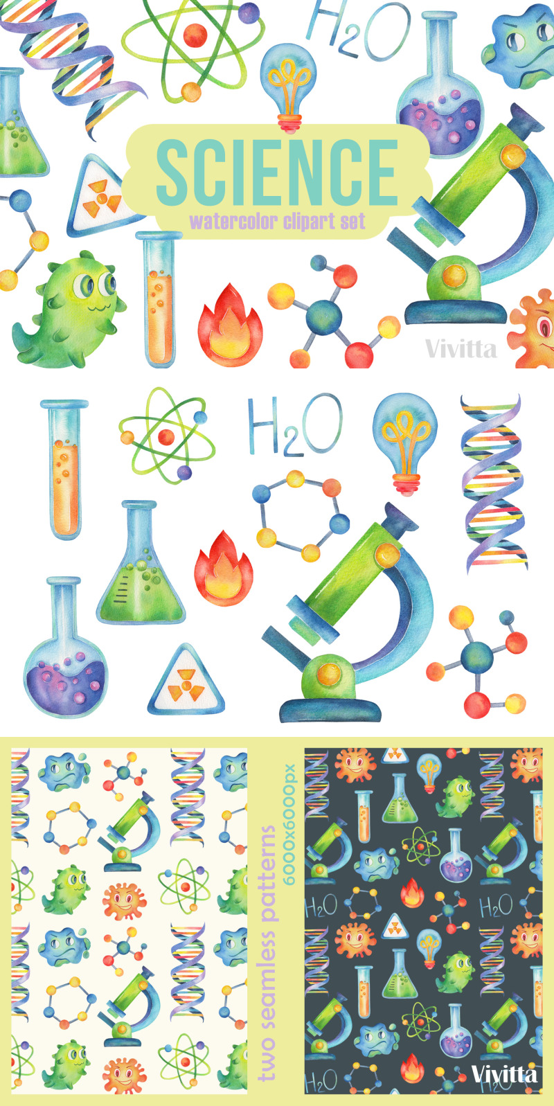 Science And Chemistry Party Watercolor Design Clipart Clip Art Watercolor Clipart Sun Clip Art