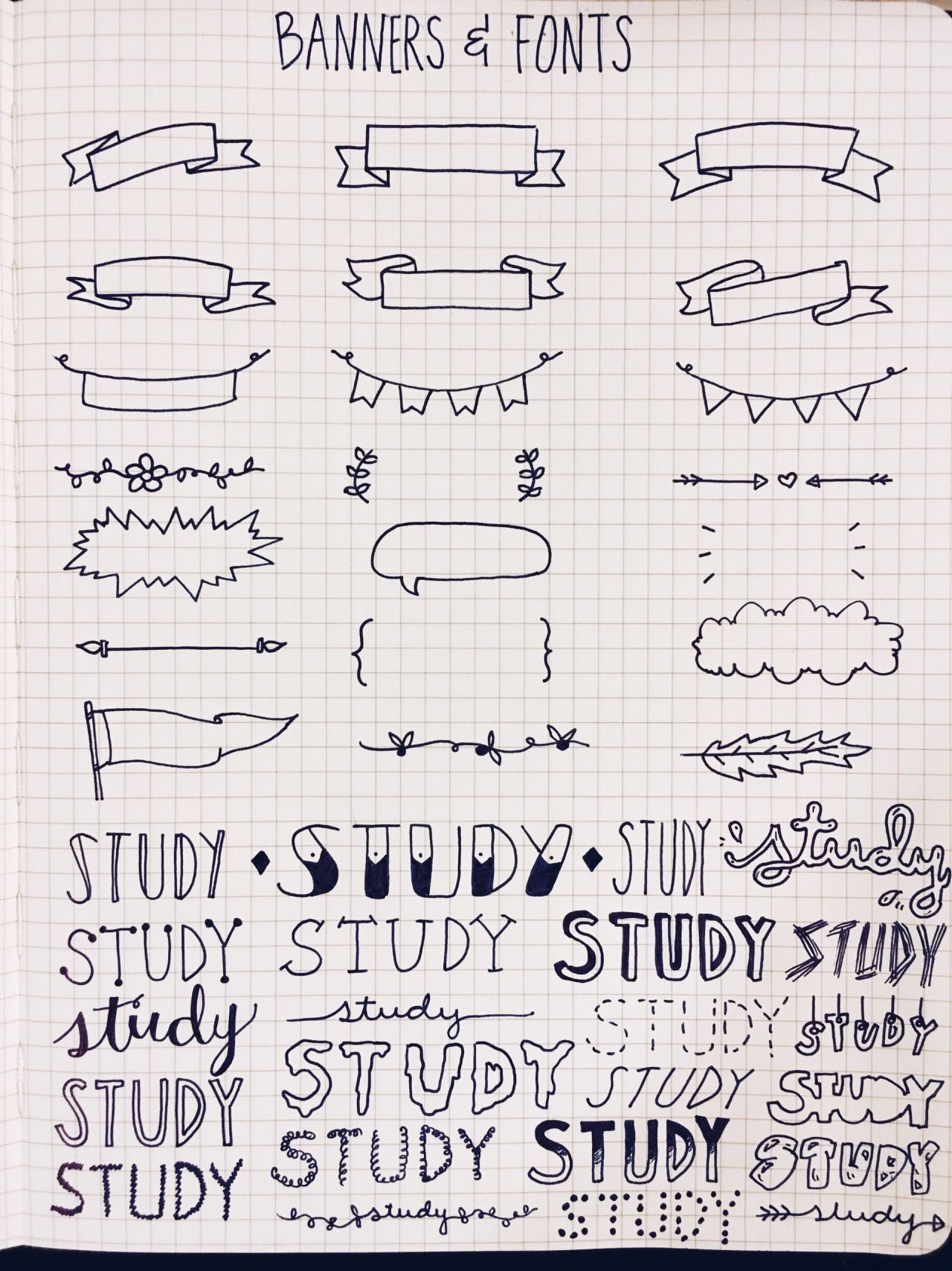 studypetals: 1.24.16+9:30pm // 2/100 days of productivity // some banners and font references for my bullet journal and note-taking!