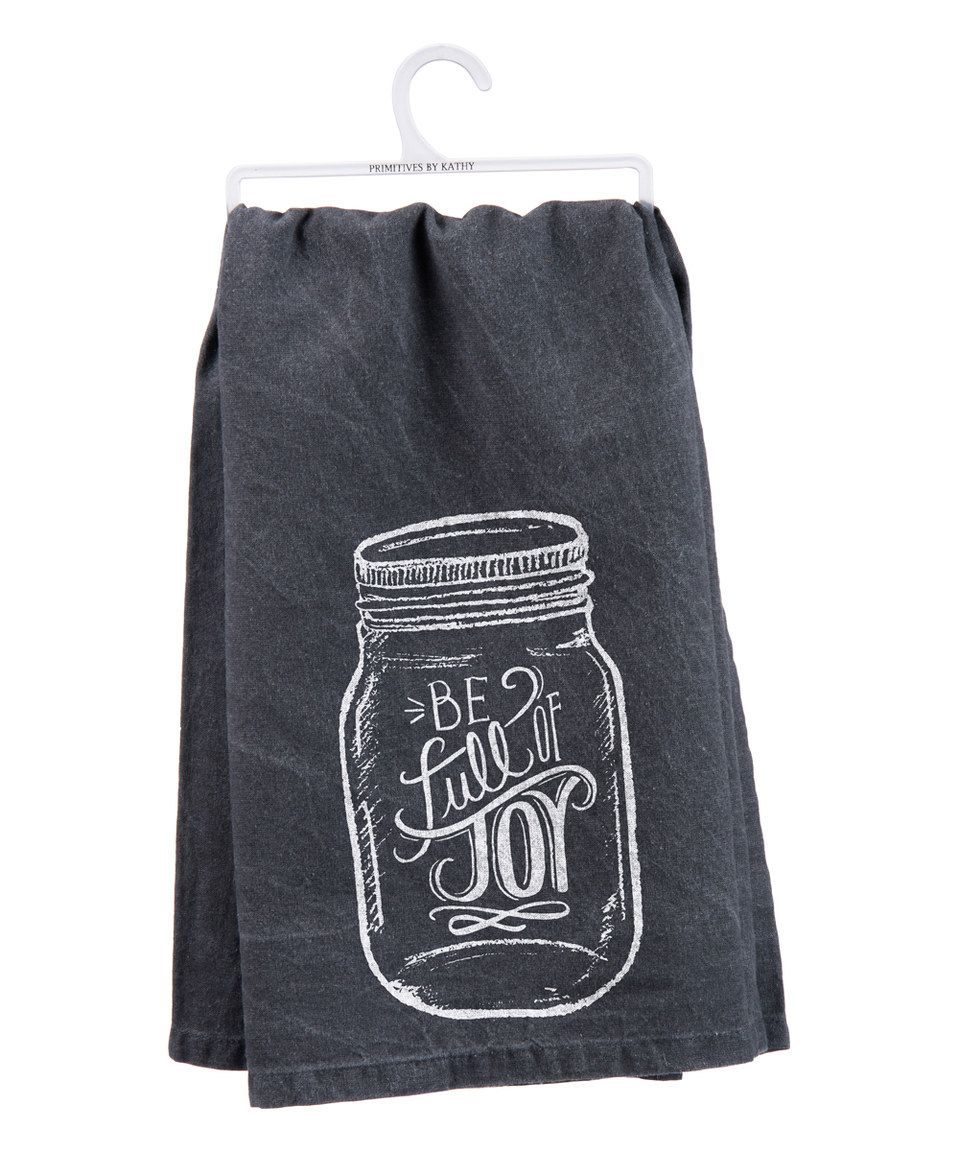 $6.99. I love me anything with a mason jar on it! Fun kitchen touches like this get me through piles of dishes! Look at this #zulilyfind! 'Full of Joy' Dish Towel by Primitives by Kathy #zulilyfinds