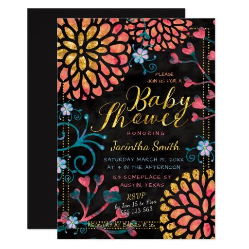 Black Pink and Gold Baby Shower Invitation |  Colorful Floral 5x7 Printed customizable Card | by Webgrrl (PaperStation)