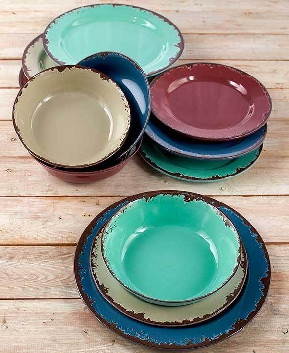 2eb0867bd9ec6 Rustic 12 Pc Dinnerware Service Set Dishes Bowls Salad Dinner Plates ...