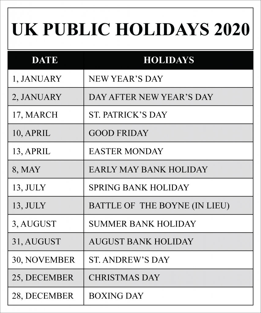 Uk Public Holidays 2020 Calendar March Holidays Calendar Uk Holiday Dates