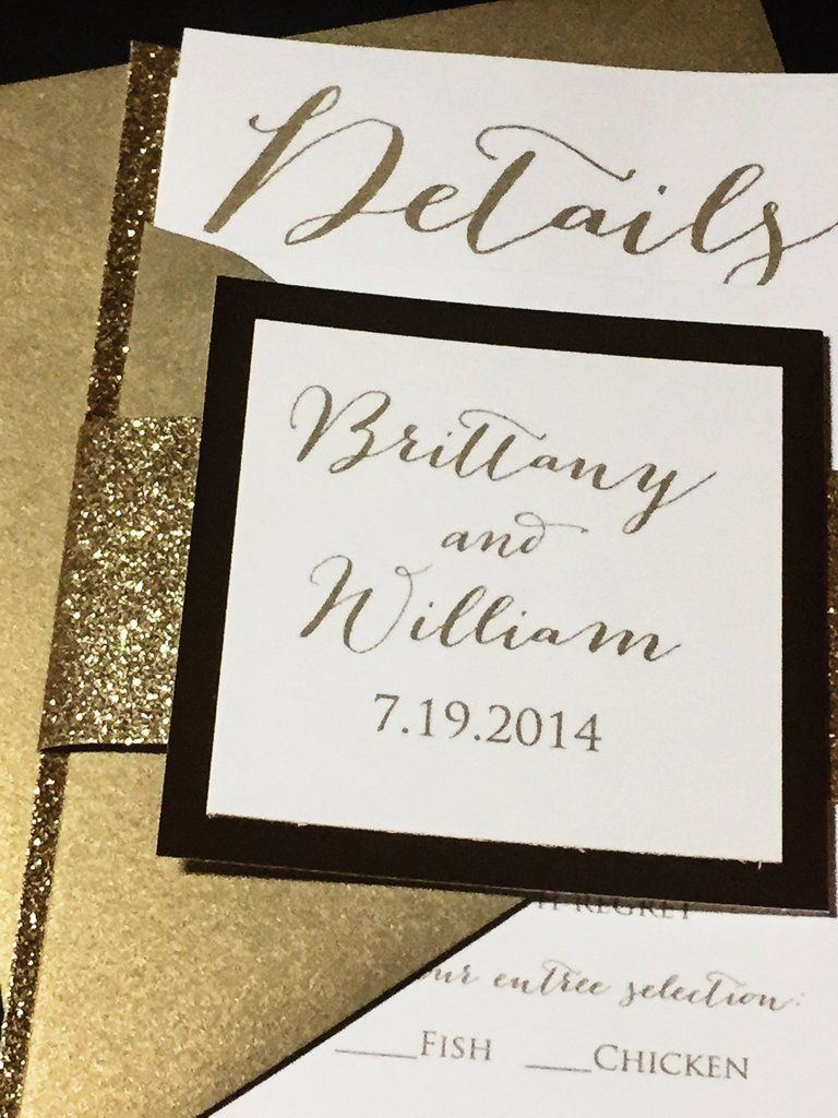 Gold Glitter Wedding Invitation Modern Wedding Invitation