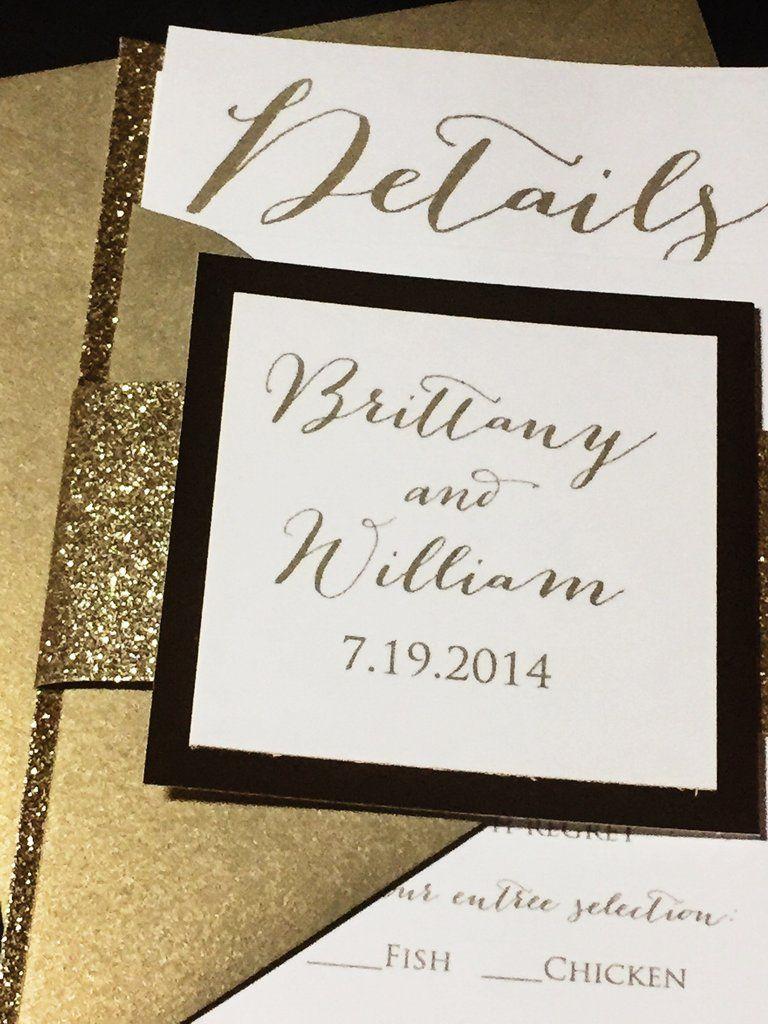 Gold Glitter Wedding Invitation Modern Wedding Invitation
