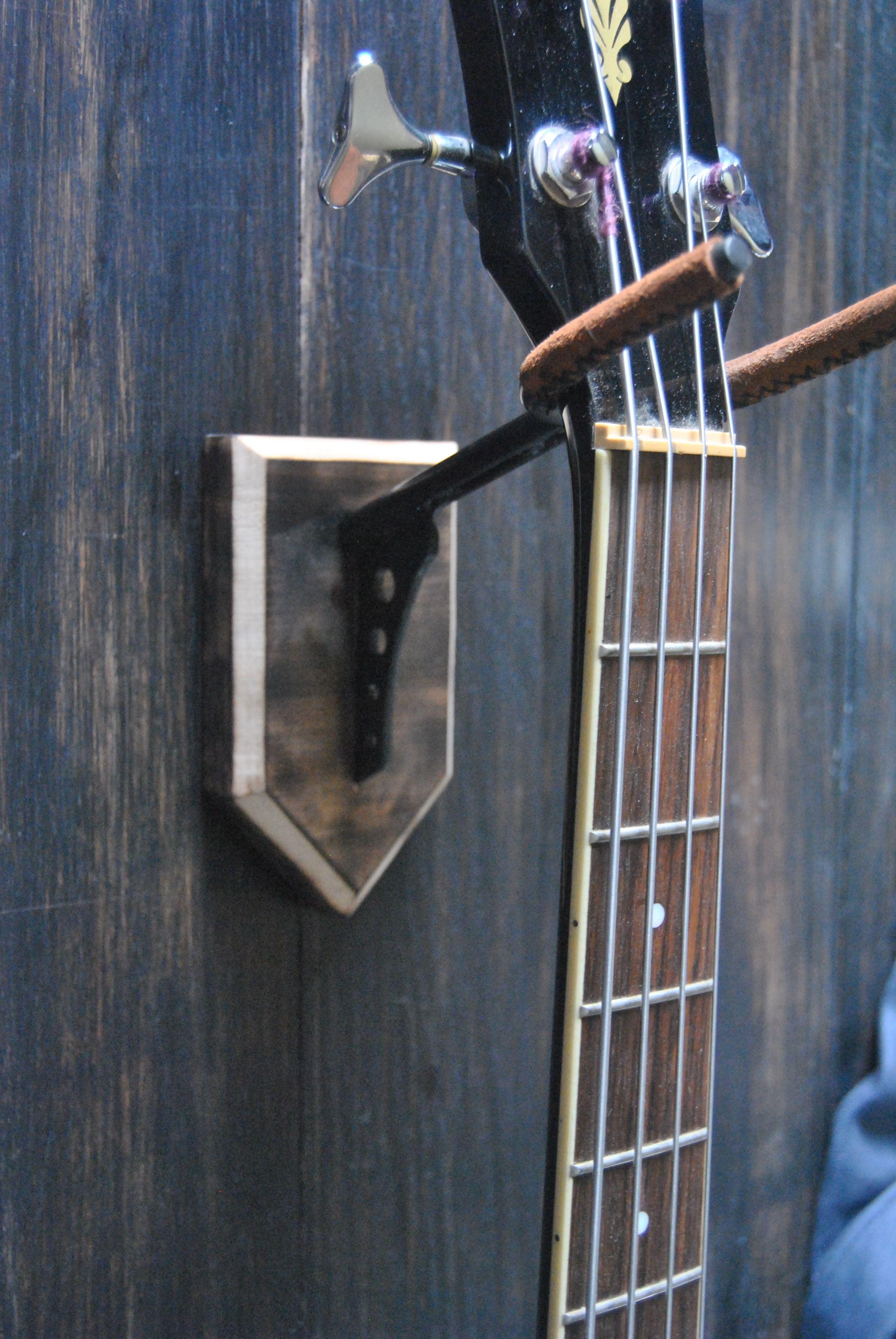 Support Guitare Mural Acier Bruni Et Bois Brulé Steel Wood Wall - Porte guitare mural