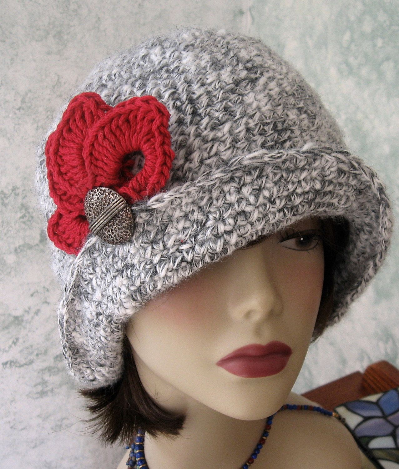 Crochet Hat Pattern Flapper Style With Brim Petal Trim And