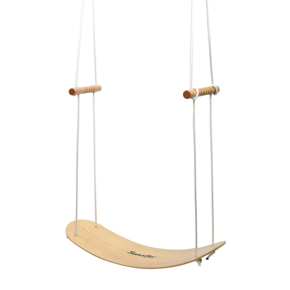 Swurfer Swing Board Stand Up Wood Tree Swing With Rope Sw001 The Home Depot In 2020 Wood Tree Swing Wooden Tree Swing Tree Swing