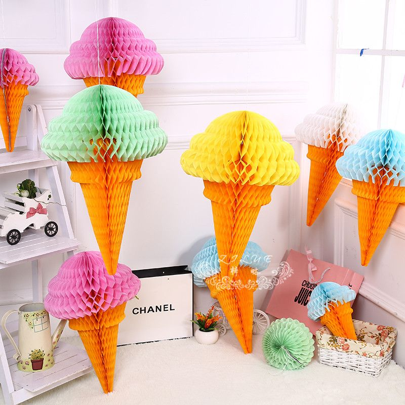 Honeycomb Balls Decoration 5Pcslot Ice Cream Honeycomb Balls Paper Lanterns Wedding