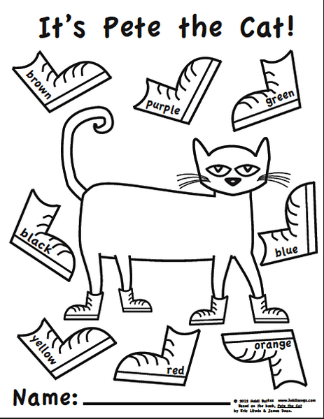 Pete The Cat Shoes Coloring Sheet Birthday Pete The Cats Cats