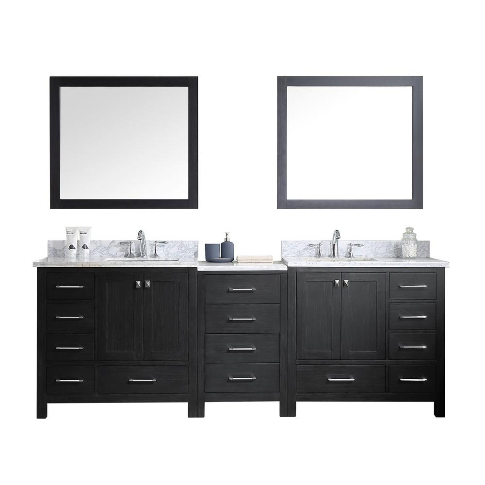 Virtu Usa Caroline Premium 92 In W Bath Vanity In Zebra Gray With Marble Vanity Top In White With Square Basin And Mirror Kd 60090 Wmsq Zg The Home Depot Double Sink Bathroom Vanity [ 1000 x 1000 Pixel ]
