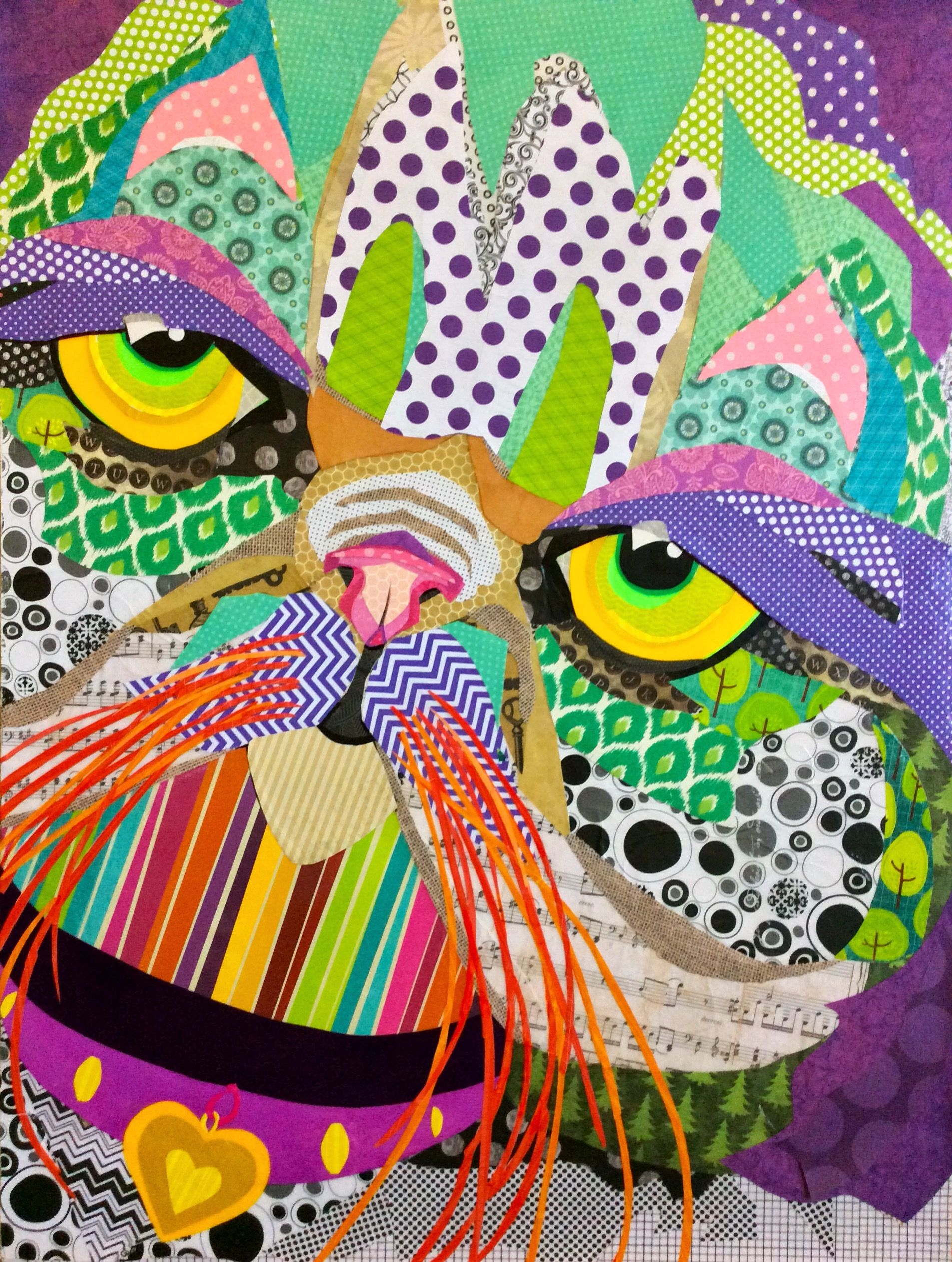 Scrapbook paper collage - Scrapbook Paper Collage Artwork Smushed Face Cat By Laura Yager 24