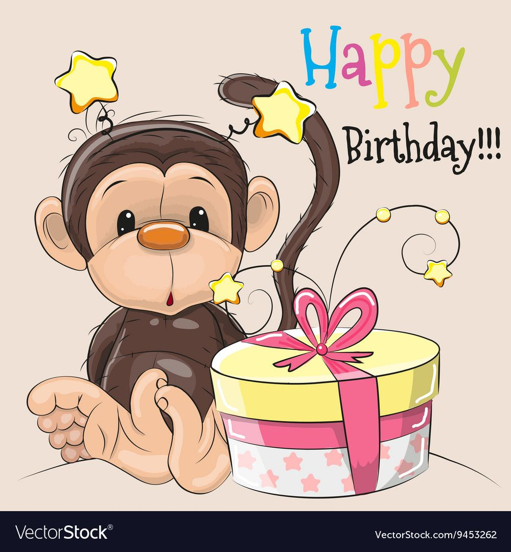 Greeting Card Cute Monkey With Gift On A Beige Background Download A Free Preview Or High Quality Happy Birthday Kids Birthday Scrapbook Birthday Card Sayings