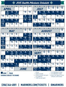 photograph about Mariners Printable Schedule known as Seattle Mariners - 2015 Printable Routine Neighborhoods