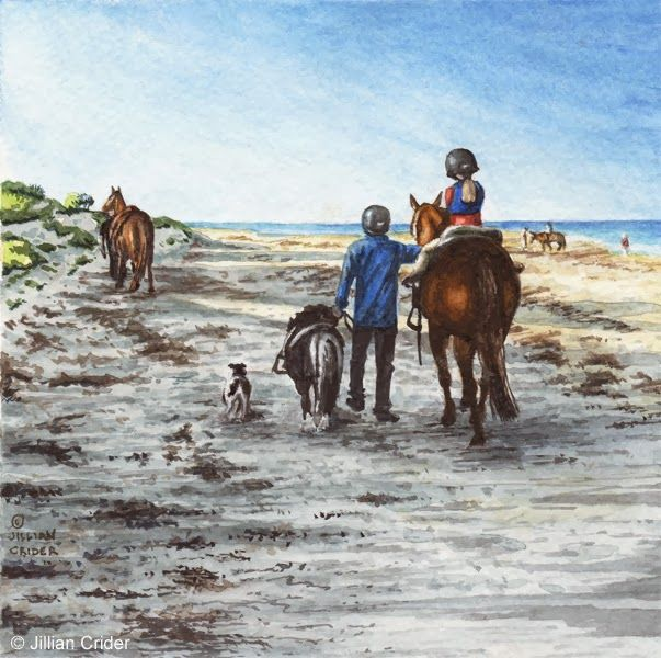 "Daily Watercolors: 6x6"" watercolor - horses & people on beach at dawn..."