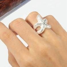Silver Starfish Alloy Finger Ring For Women