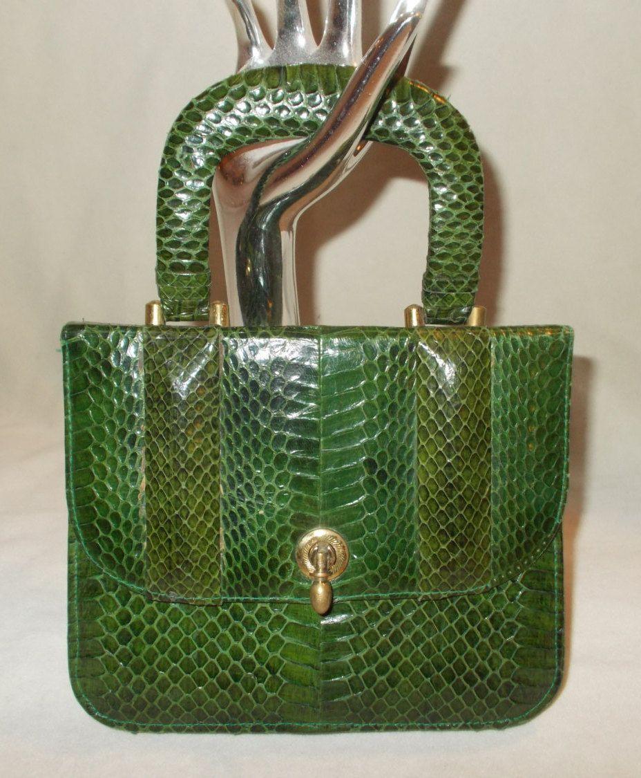 wow the cutest vintage 1940's green snakeskin purse by VintageHandbagDreams on Etsy
