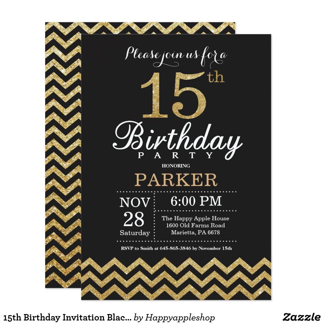 15th birthday invitation black and gold