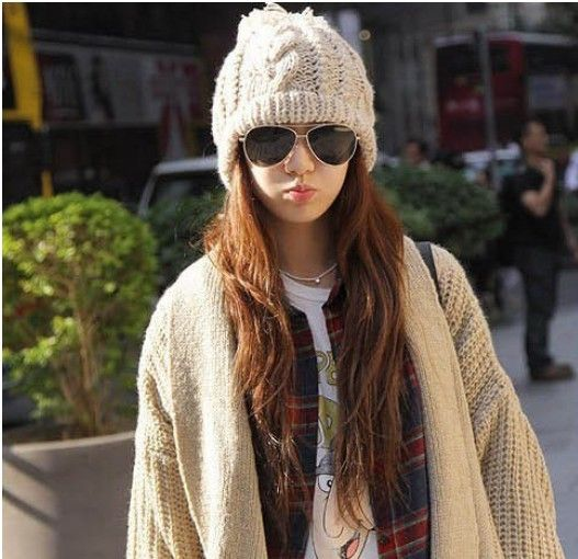 30234061d08 Chunky knit winter bobble hat. Available in cream beige