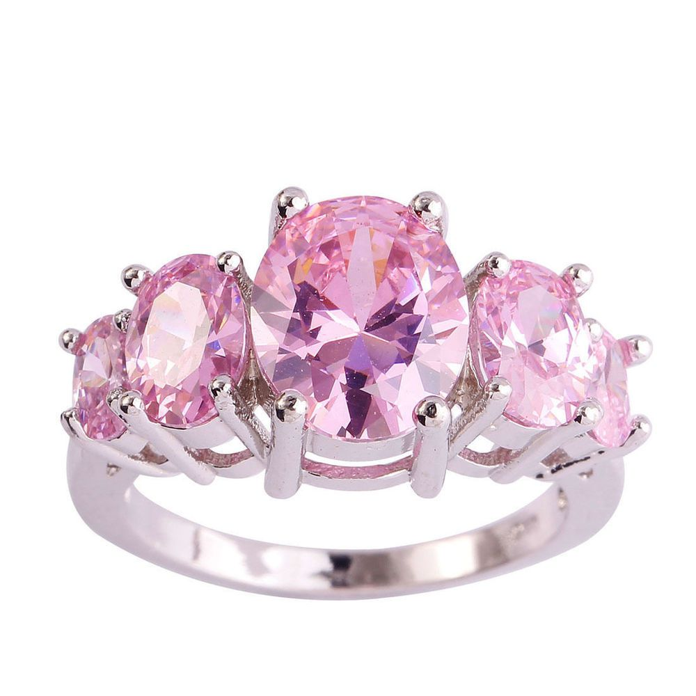 Beautiful 5 stone Pink Topaz Ring Sterling Silver size 7 | Pink ...