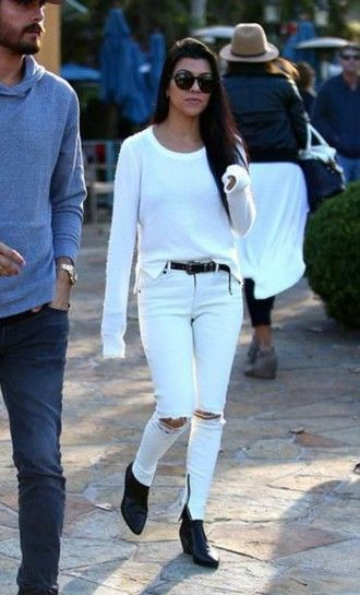 57fc6a1fb675 ankle boots kourtney kardashian white sweater white jeans white ripped jeans