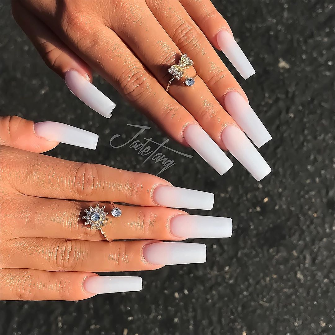 Jade Tang On Instagram Do You Know Which Shape Looks Good On Your Nails Sculpted Acryl Long Square Acrylic Nails Tapered Square Nails Nail Shapes Square