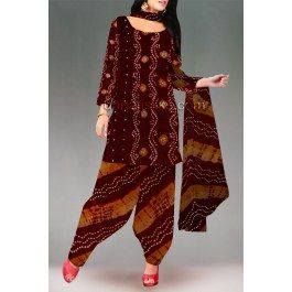 'Hues of brown color unstitched pure bandhani cotton salwar kameez with  matching dupatta.This