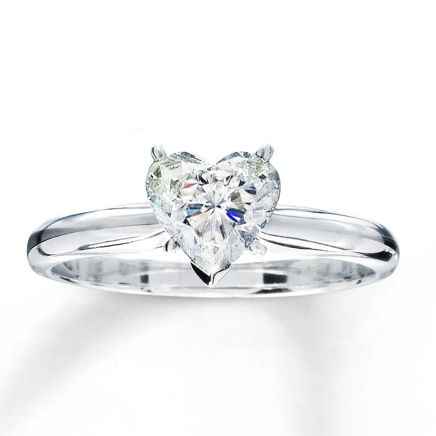 One carat heart shaped diamond ring ring pinterest heart