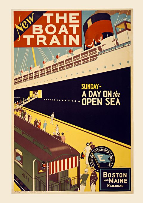 Boston Maine The Boat Train Vintage Travel Poster Unique Wall Art ...