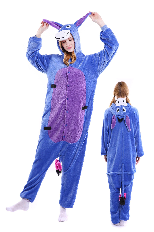 0184a14830 Donkey Kigurumi Onesie Pajamas Soft Flannel Unisex Animal Costumes ...