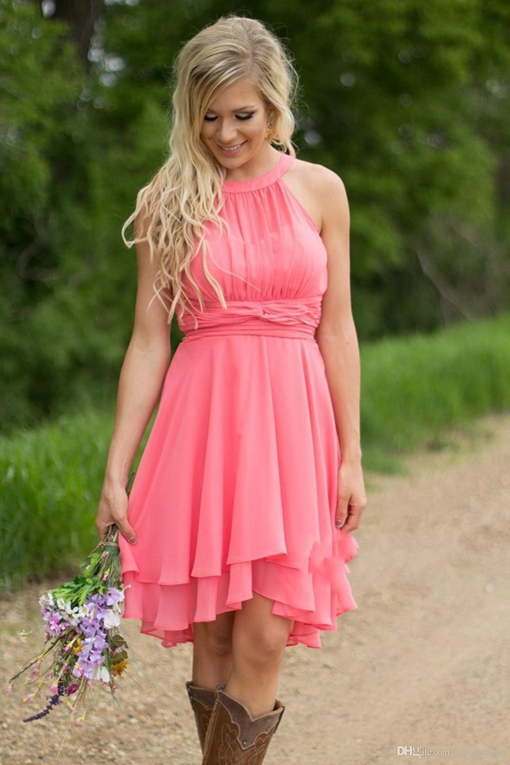 country style short bridesmaid dresses watermelon royal blue