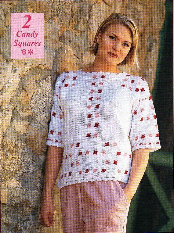 Womans crochet sweater top crochet pattern pdf download ladies ...