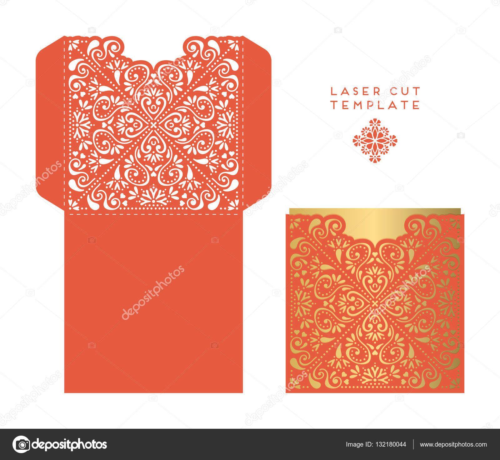 Plantilla del corte del laser de tarjeta de boda Vector ...