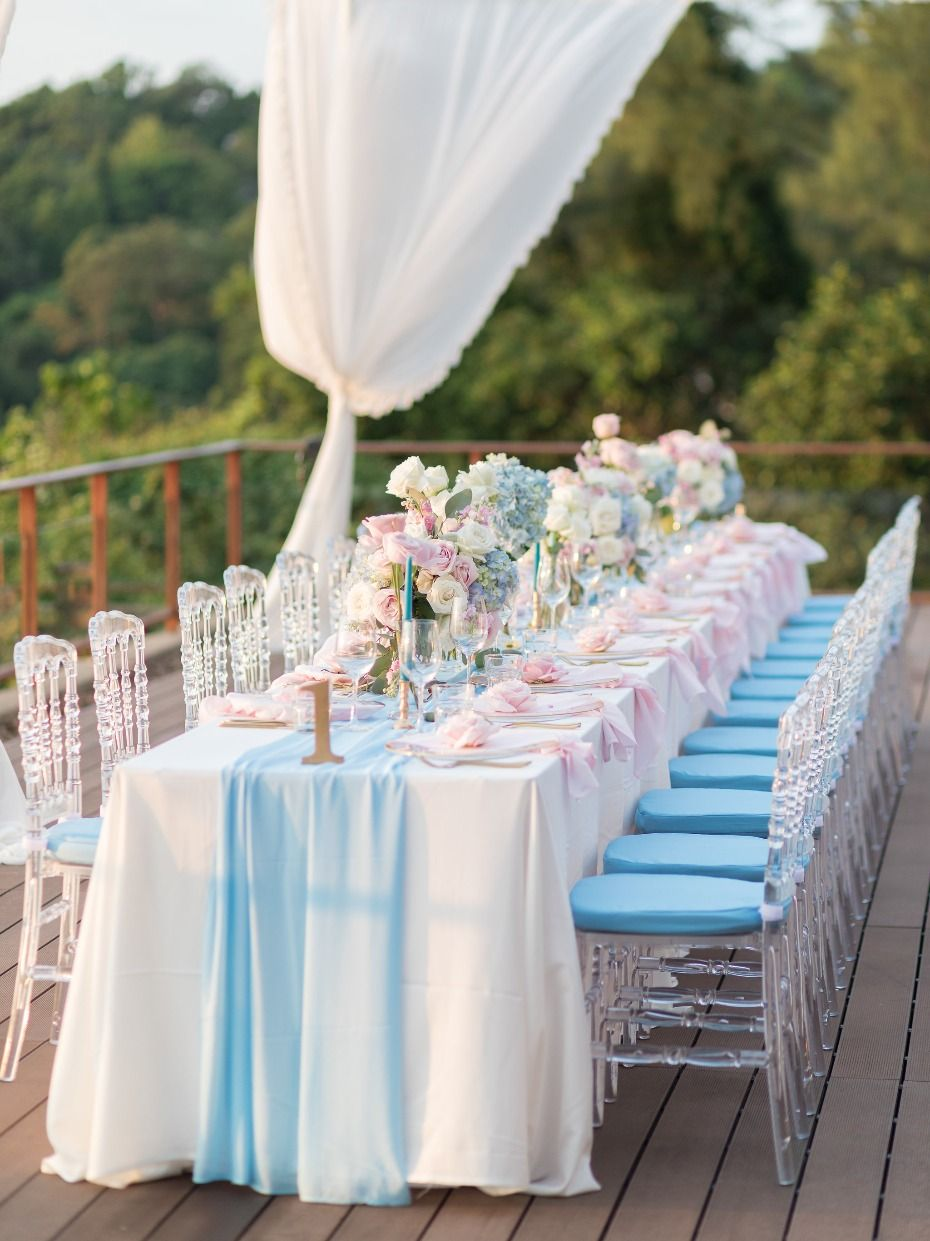 Glam Pink Blue And Gold Ocean View Wedding In Thailand Table