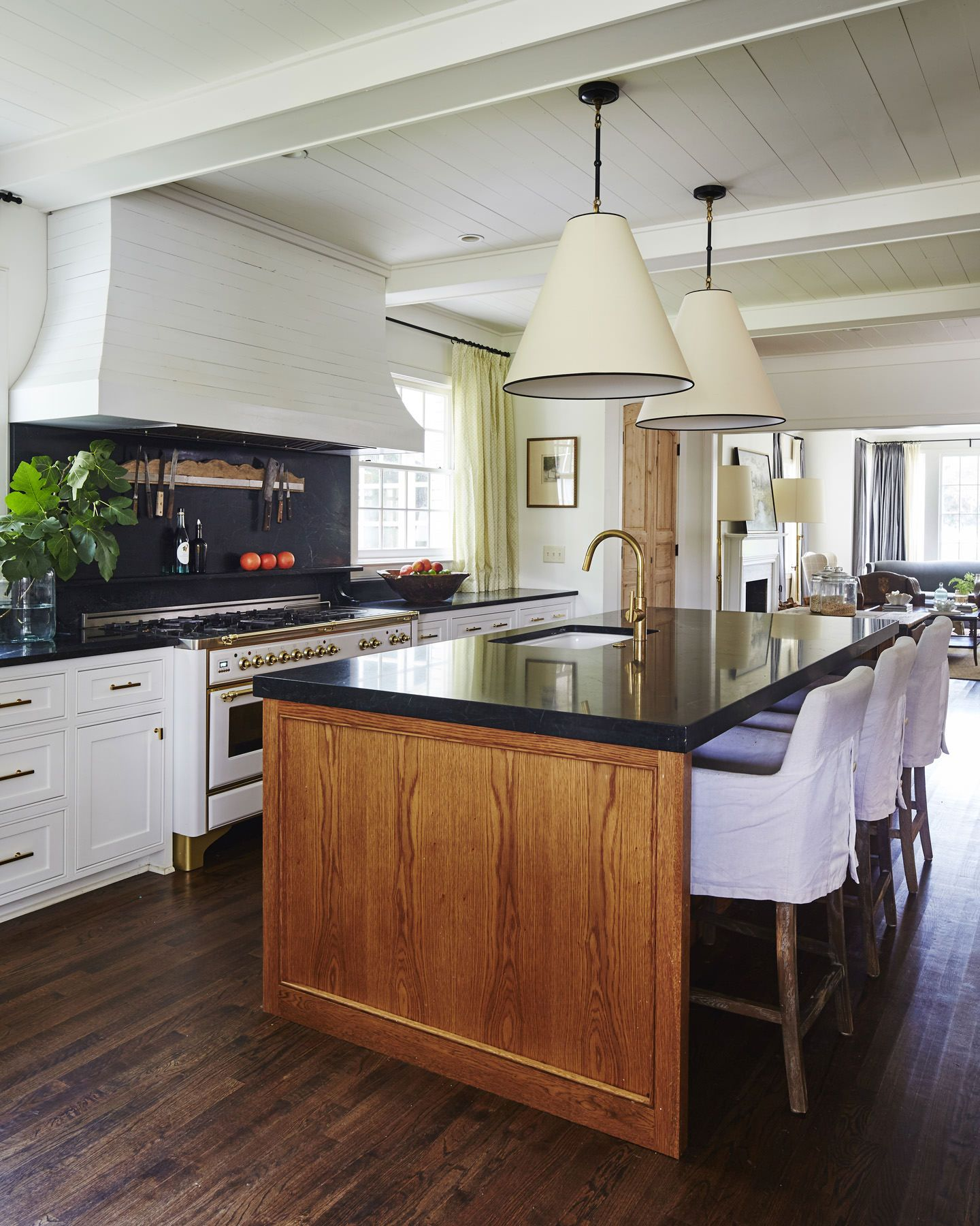 Natural Wood Kitchen Designs: Ashley Gilbreath. White Cabinetry, Natural Wood Island