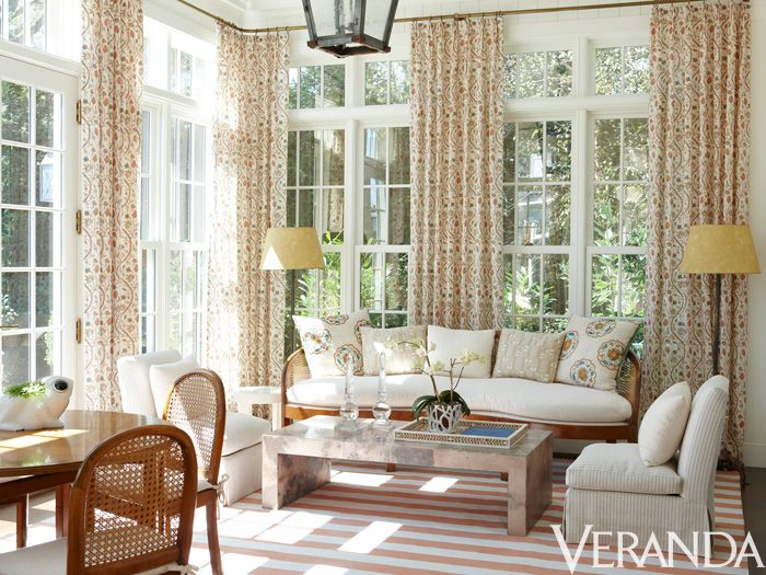 Small Scale Prints In Vibrant Oranges Enliven A Sun Room, Complementing The  Roomu0027s Light