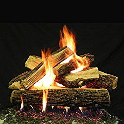 Myard 24 Inches Country Split Style Complete Fire Gas Logs Set With Hearth Kit For Vented Gas Fireplace Gas Logs Gas Log Sets Gas Fireplace Cost