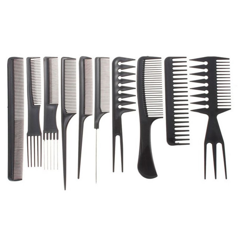 10pcs Anti Static Hair Comb Brush Kit Quality Hair Styling Comb Set Black Hairdressing Barber Brush For Hair Salon Hair Tools Professional Hairstyles Hair Care