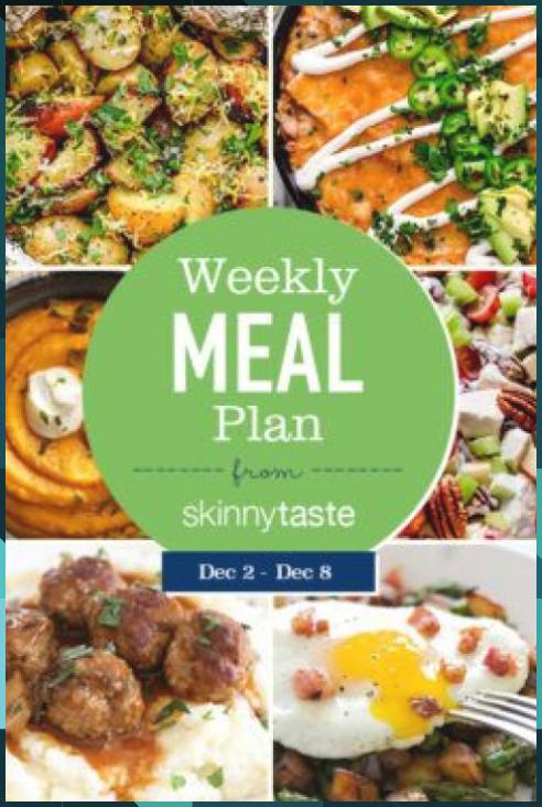 Skinnytaste Meal Plan (December 2-December 8)