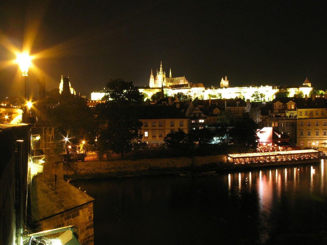Boat, Prague, Praha, Castle, Night boat, prague, praha