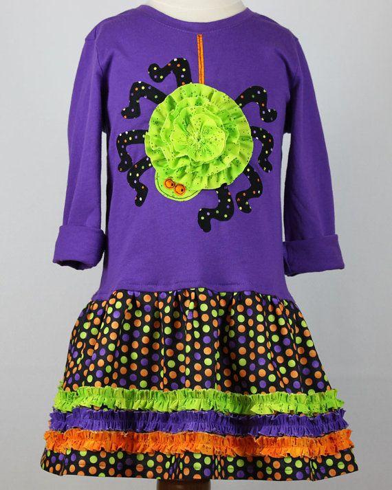 Girls Halloween spider T-shirt dress pdf sewing pattern cat jack-o ...