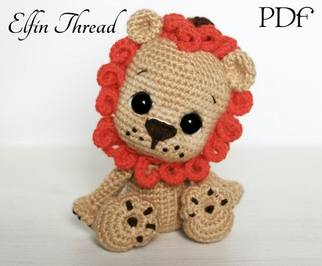 Crochet Amigurumi Lion Patterns : Elfin thread leander the chibi lion amigurumi pdf pattern lion