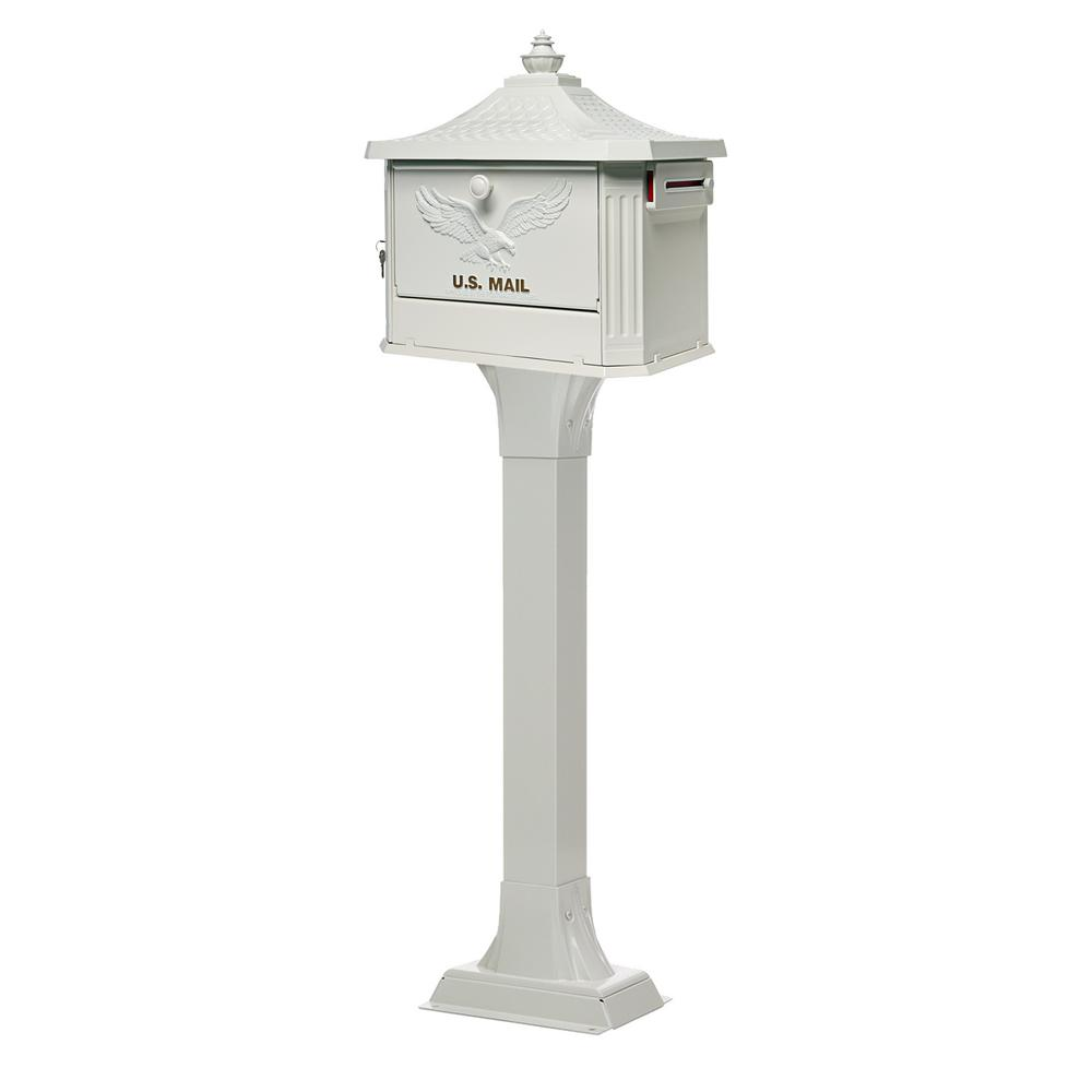 Gibraltar Mailboxes Pedestal Mailbox And Post Combo In Black