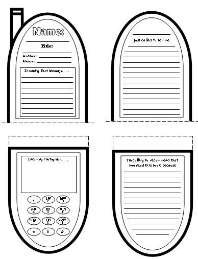 Cell Phone Book Report Project templates, worksheets, grading
