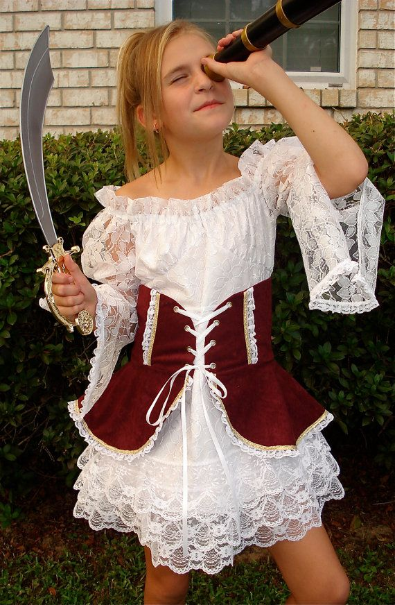 Girl\u0027s Pirate Costume / Sizes 7 thru 14 / Handmade / Birthdays - halloween ideas girls