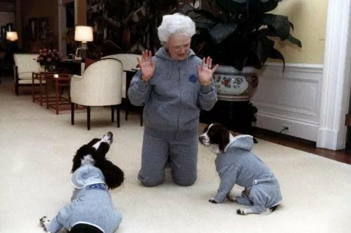 Barbarabush And Her Dogs In Matching Tracksuits Barbara Bush
