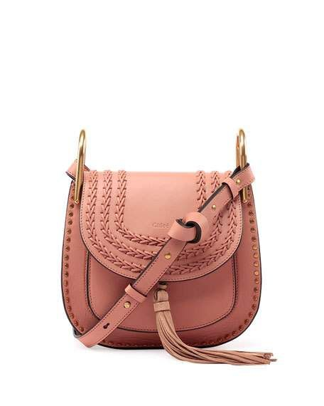 c6fc6fb94704 Chloe small studded shoulder bag in smooth calfskin leather. Brass  hardware. Adjustable shoulder strap. Flap top with snap closure. Braided  trim with tassel ...