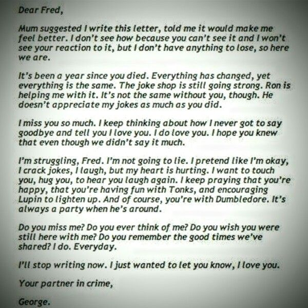 A Letter From George Weasley We Love You Fred Weihnachten